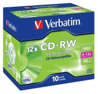 Disk Verbatim CD-RW 700MB/80 min. 8-12x, jewel box,10ks