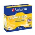 Disk Verbatim DVD+RW 4,7GB, 4x, jewel box, 5ks