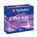 Disk Verbatim DVD+R DualLayer, 8,5GB, 8x jewel box, 5ks